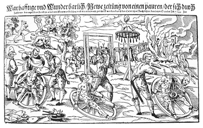 Woodcut print of Peter Stubbe's execution.