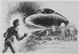 Lavender farmer Maurice Masse encounters a landed UFO and its occupants on his land early in the morning ; they paralyse him by pointing 'ray- guns' at him - Date: 1 July 1965