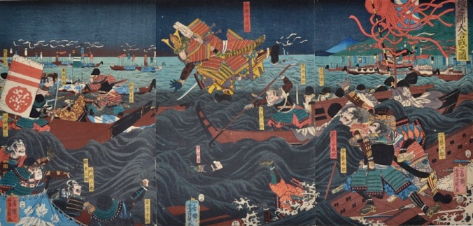 Woodcut of the Battle of Dan-no-Ura. Source: www.toshidama-japanese-prints.com