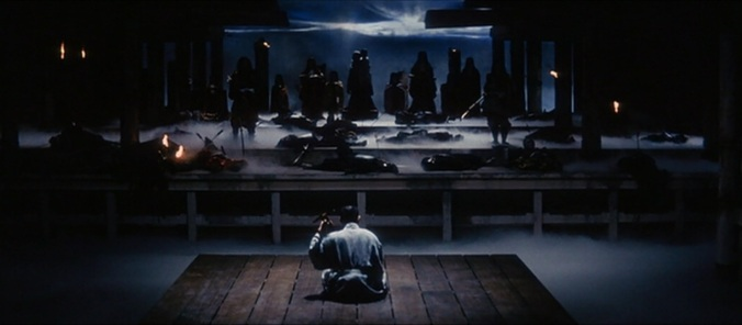 Hoichi playing for his mysterious audience in a scene from the 1964 movie Kwaidan. Image source: uponobservingthis.wordpress.com