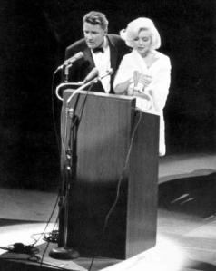 Peter Lawford and Marilyn Monroe at John F. Kennedy's birthday celebration in 1962.