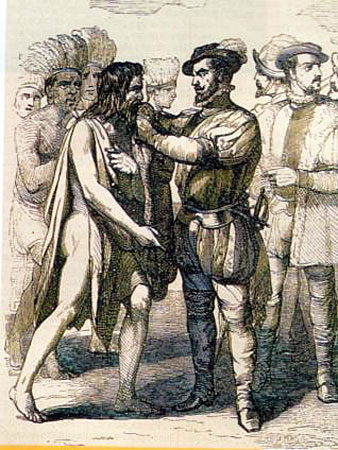 Gonzalo Guerrero meeting with Hernan Cortes. (Image source here.)