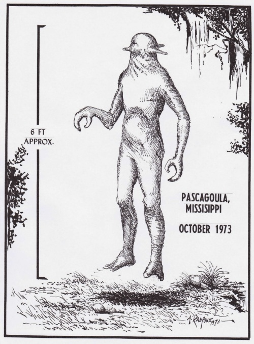 Drawing of a Pascagoula alien. (Image source/ credit here.)
