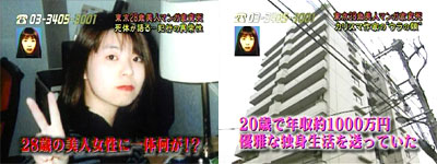 Pictures of Yoko Yoshida and the apartment she was staying at.